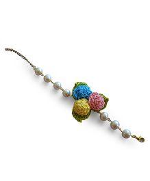 Soulfulsaai Crochet Rosette Pearl Bracelet - Multicoloured