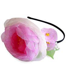 Soulfulsaai Handmade Organza Flower Hair band - Pink & White