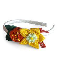 Soulfulsaai Fabric Flower And Rosette Hair band - White & Yellow