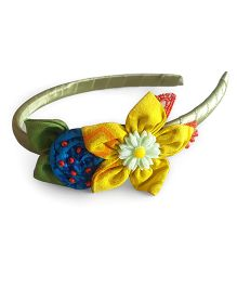 Soulfulsaai Fabric Flower And Rosette Hair band - Yellow & Green
