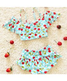 Pre Order - Awabox Cherry Print Two Piece Swimsuit - Blue