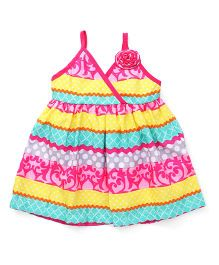 Little Kangaroos Singlet Frock With Print & Floral Applique - Pink
