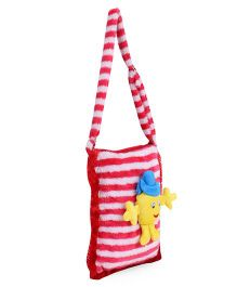 Tickles Cute Smiley Sling School Bag Red And White - 12 inch