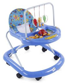 Musical Baby Walker With Hanging Toys - Blue