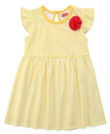 Babyhug Flutter Sleeves Frock Stripes Print & Floral Applique - Yellow