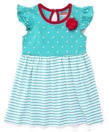 Babyhug Flutter Sleeves Frock Stripes & Dots Print & Floral Applique - Sea Green