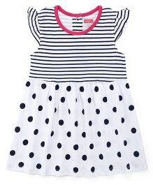 Babyhug Flutter Sleeves Frock Stripes & Dots Print - Navy & White