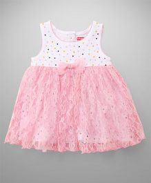 Babyhug Sleeveless Frock Bow Applique - Pink