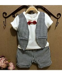 Pre Order - Dells World Tee With Striped Mock Vest Bow Tie Attached & Shorts - White & Grey