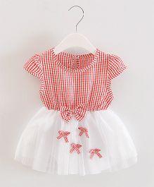 Dells World Checkered Multi Bow Applique Frill Dress - Red & White