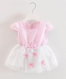 Dells World Checkered Multi Bow Applique Frill Dress - Pink & White
