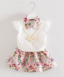 Dells World Floral Printed Collared Dress - Pink & White