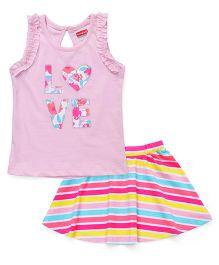 Babyhug Sleeveless Top & Skirt Set - Pink & Multi Color