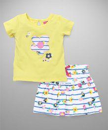 Babyhug Half Sleeves Top & Skirt Set Flower Print - Yellow