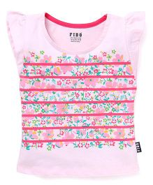Fido Flutter Cap Sleeves T-Shirt Floral Print - Pink