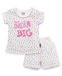 Fido Shorts Sleeves Nights Suit Dream Big Print - White