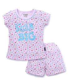 Fido Shorts Sleeves Nights Suit Dream Big Print - Light Pink