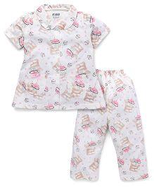 Fido Half Sleeves Nights Suit Cupcake Print - Off White & Peach