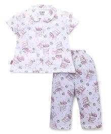 Fido Half Sleeves Nights Suit Cupcake Print - White
