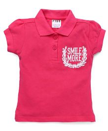 Fido Short Sleeves Smile More Print Top - Pink
