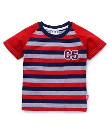 Fido Half Sleeves Stripes T-Shirt - Red Navy