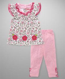 Babyhug Short Sleeves Top & Leggings Set Floral Print - Pink