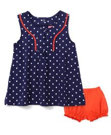 Babyhug Sleeves Polka Dots Print Top And Shorts - Navy Orange