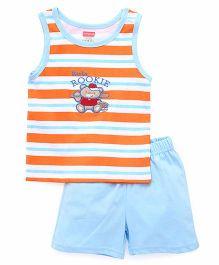 Babyhug Sleeveless Striped Tee & Shorts - Orange Blue