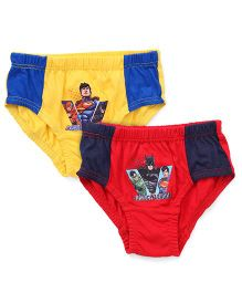 Justice League Printed Briefs Pack of 2 - Yellow Red