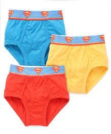 Superman Printed Briefs Pack Of 3 - Blue Yellow Orange