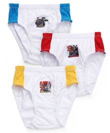 Justice League Briefs White Base Pack of 3 - Blue Red Yellow