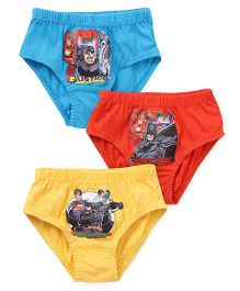 Justice League Printed Briefs Pack of 3 - Blue Red Yellow