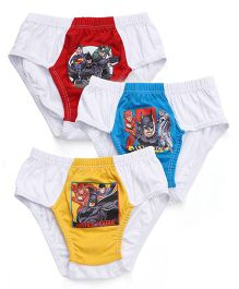 Justice League Briefs White Base Pack of 3 - Red Blue Yellow