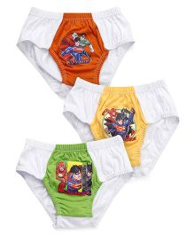 Justice League Briefs White Base Pack of 3 - Orange Yellow Green