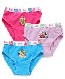 Barbie Panties Printed Pack Of 3 - Blue Purple Pink