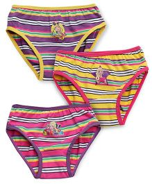 Barbie Stripe Panties Pack of 3 - Purple Yellow Pink