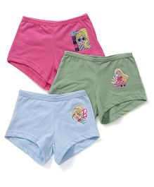 Barbie Printed Bloomers Pack Of 3 - Pink Green Blue