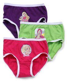 Barbie Panties Printed Pack of 3 - Pink Purple Green