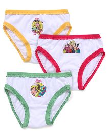 Barbie Panties White Base Pack of 3 - Yellow Pink Green
