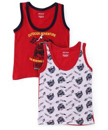 Red Rose Sleeveless T-Shirts Pack of 2 - White Red