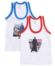 Justice League Sleeveless Vest Printed Pack Of 2 - White Red Blue
