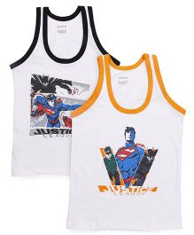 Justice League Sleeveless Vest White Base Pack of 2 - Black Orange
