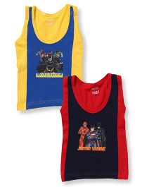 Justice League Printed Sleeveless Vest Pack Of 2 - Red Yellow
