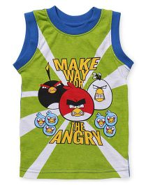 Angry Birds Printed Sleeveless T-Shirt - Green