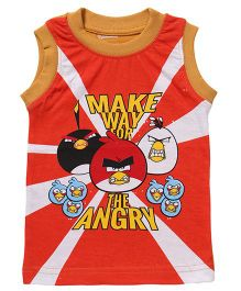 Angry Birds Printed Sleeveless T-Shirt - Orange