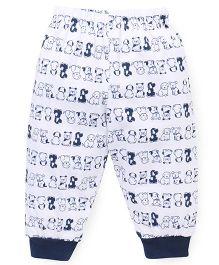 Mini Taurus Leggings Puppy Print - White And Navy Blue