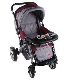 Baby Musical Pram Cum Stroller - Grey Maroon