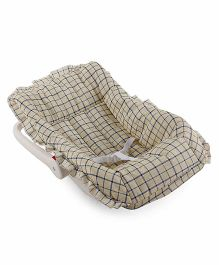 Baby Carry Cot Cum Rocker Checks Print - Lemon & Beige