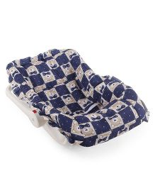 Baby Carry Cot Teddy Bear Print - Navy