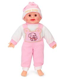 Tickles Laughing Baby Doll Puppy Print Pink And White - 36 cm